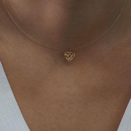 14Κ Καρδιά Μενταγιόν Κίτρινο Χρυσό Λαιμού Γυναικείο Ντίζα