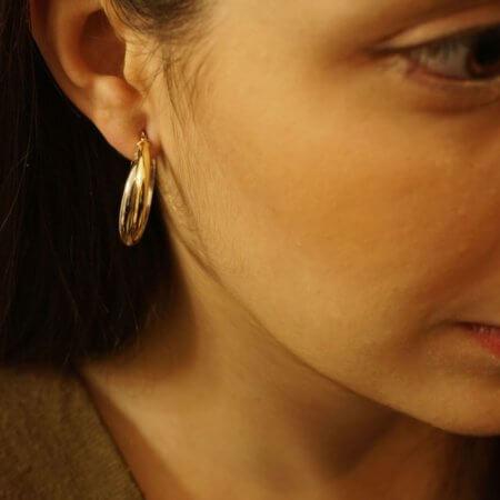 Κρίκοι 14Κ Γυναικεία Σκουλαρίκια Χρυσά Λευκόχρυσα