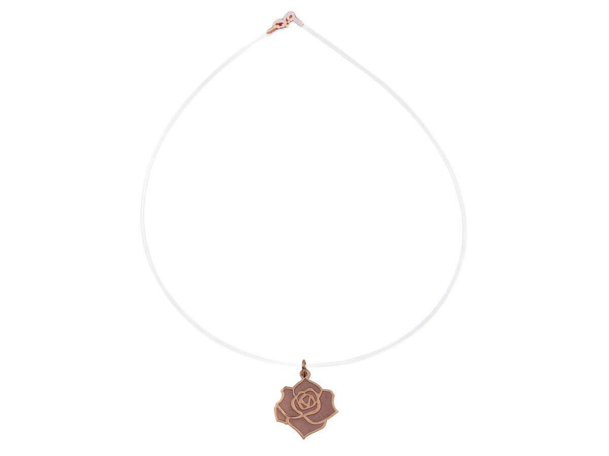 14Κ Τριαντάφυλλο Ντίζα Ροζ Χρυσό Γυναικείο Μενταγιόν Λαιμού