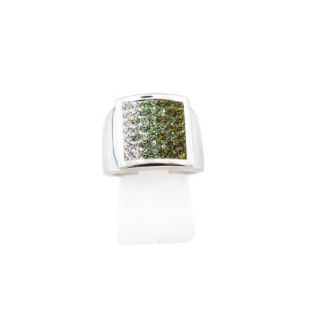 Δαχτυλίδι Γυναικείο με Πέτρες Λευκές Πράσινες Ζιργκόν 925 Ασημένιο