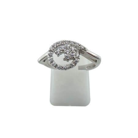 925 Ασημένιο Δαχτυλίδι με Ζιργκόν Λευκές Πέτρες Γυναικείο Ασημί