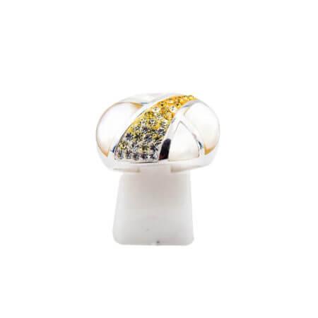 Ασημένιο Δαχτυλίδι 925 με Σμάλτο Πέτρες Ζιργκόν Λευκές Κίτρινες Γυναικείο