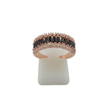 Γυναικείο Ροζ Επίχρυσο Δαχτυλίδι Ασημένιο 925 Λευκές Μαύρες Πέτρες Ζιργκόν
