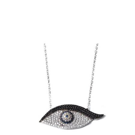 925 Ασημένιο Μενταγιόν Μάτι Γυναικείο Ζιργκόν Πέτρες