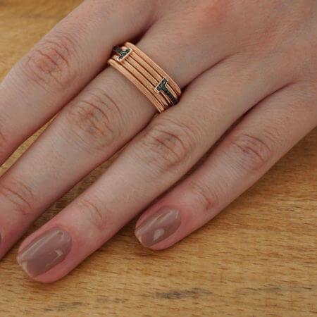 925 Ροζ Χρυσό Γυναικείο Ασημένιο Δαχτυλίδι