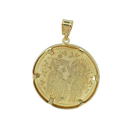 Μενταγιόν Κωνσταντινάτο Λαιμού 9Κ Χρυσό Χριστός Άγιοι Κωνσταντίνος Ελένη