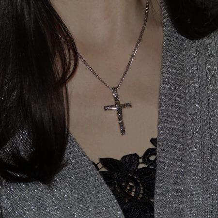 Σταυρός Λευκόχρυσος Εσταυρωμένος 14Κ Χρυσός Ανδρικός
