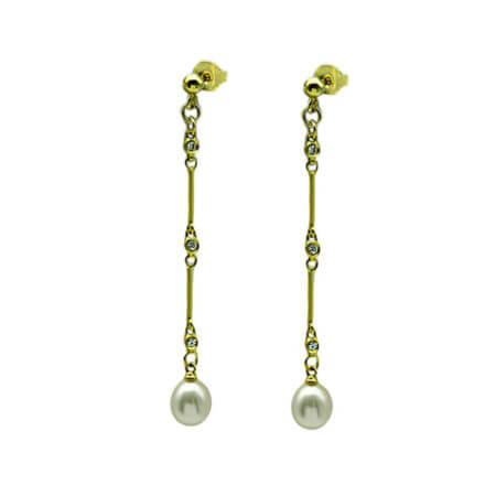 Κρεμαστά Γυναικεία Σκουλαρίκια Ασημένια Επίχρυσο Ασήμι 925 Μαργαριτάρια Ζιργκόν Πέτρες