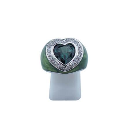 Δαχτυλίδι Καρδιά Πράσινη Πέτρα Καμπουσόν Λευκές Ζιργκόν 925 Ασημένιο Γυναικείο
