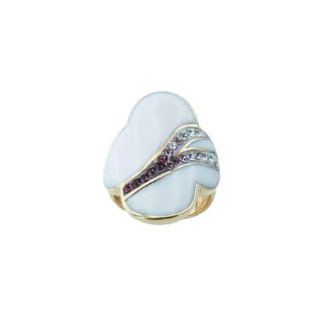 Γυναικείο Ασημένιο 925 Δαχτυλίδι Λουλούδι Σμάλτο Πέτρα Ζιργκόν Λευκές Ροζ Μωβ