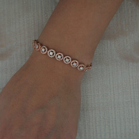 Ασημένιο 925 Ζιργκόν Γυναικείο Βραχιόλι Ροζ Χρυσό