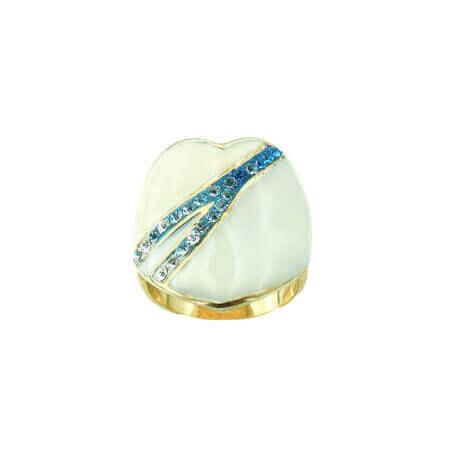 Ασημένιο Δαχτυλίδι Επίχρυσο Ασήμι Καρδιά Σμάλτο Ζιργκόν Πέτρες Τυρκουάζ Λευκές Γυναικείο 925