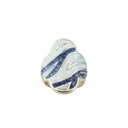 Επίχρυσο Δαχτυλίδι Λουλούδι Σμάλτο Πέτρες Μπλε Λευκές Γυναικείο Ασήμι 925