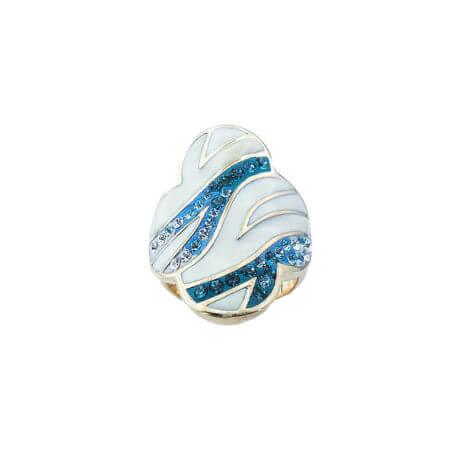 Δαχτυλίδι Λουλούδι με Σμάλτο Επίχρυσο Ασήμι Ζιργκόν Πέτρες Τυρκουάζ Λευκές Γυναικείο Ασημένιο 925