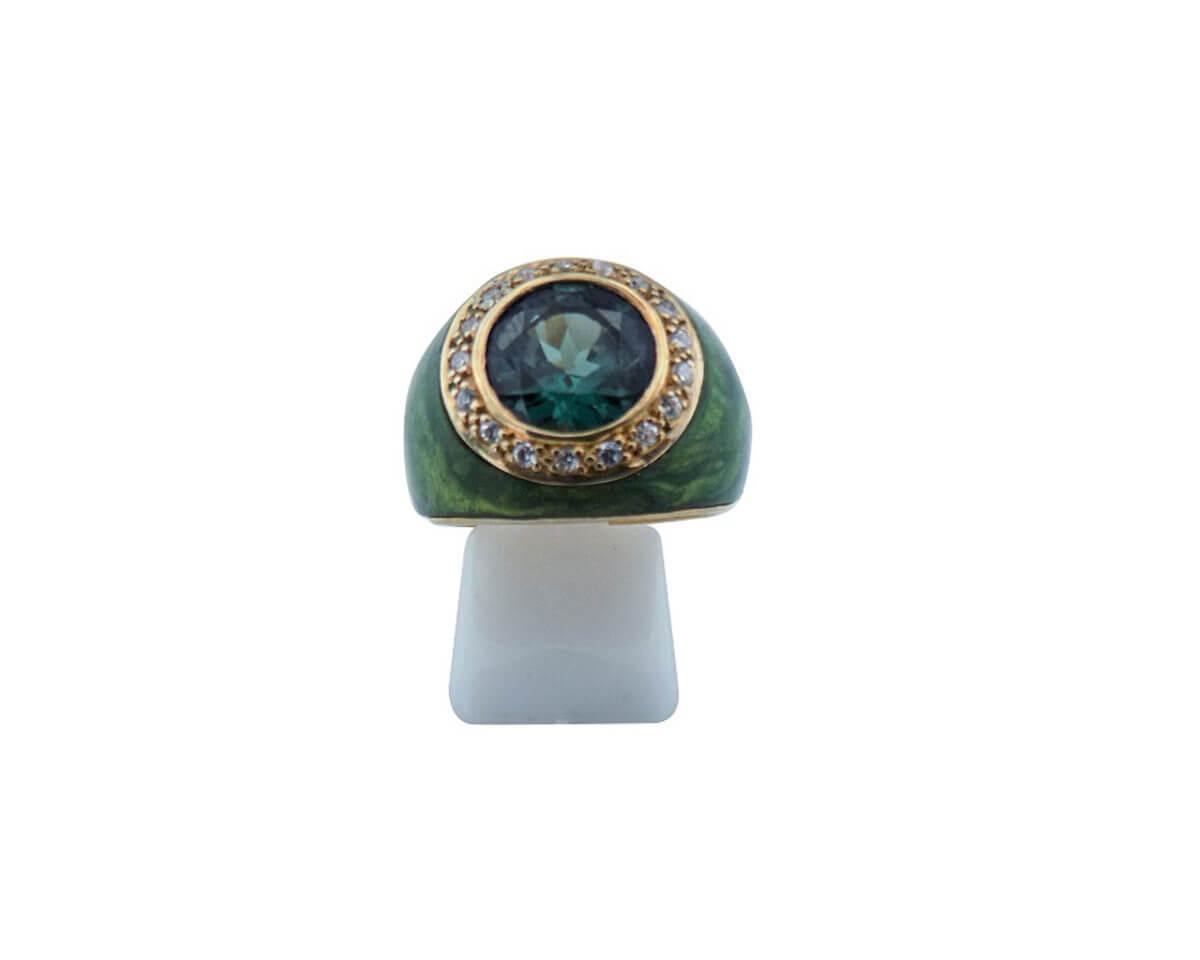 Ασημένιο Δαχτυλίδι 925 Επιχρυσωμένο Πράσινη Πέτρα Καμπουσόν Ζιργκόν Ασημί Γυναικείο