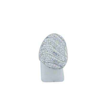 Δαχτυλίδι με Σμάλτο Γυναικείο Ασημένιο Ζιργκόν Πέτρες Λευκές 925 Ασημί
