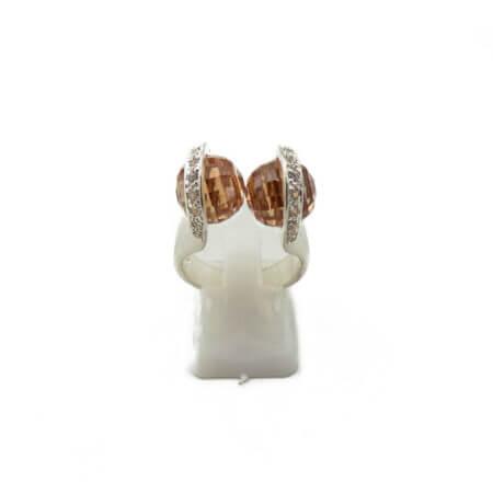 Ασημένιο Δαχτυλίδι με Ζιργκόν Καφέ Λευκές Πέτρες 925 Γυναικείο