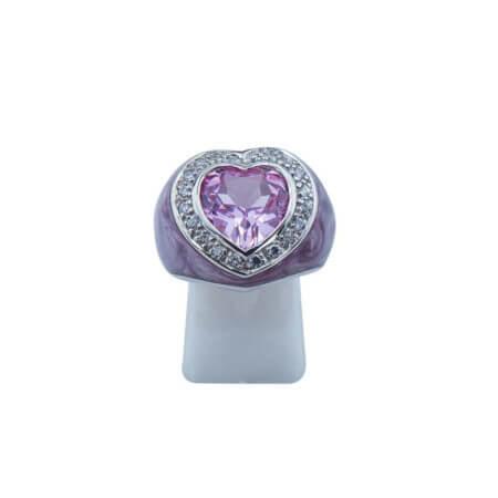 Ασημένιο Δαχτυλίδι Καρδιά 925 Μωβ Πέτρα Καμπουσόν Ζιργκόν Ασημί Γυναικείο
