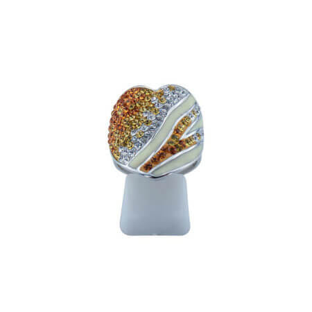Ασημένιο Δαχτυλίδι Καρδιά Πορτοκαλί Κίτρινες Λευκές Ζιργκόν Πέτρες Γυναικείο 925