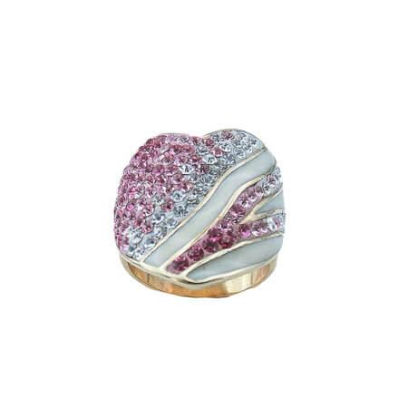 Ασημένιο Δαχτυλίδι Λευκές Ροζ Ζιργκόν Πέτρες Γυναικείο Καρδία Επίχρυσο Ασήμι 925