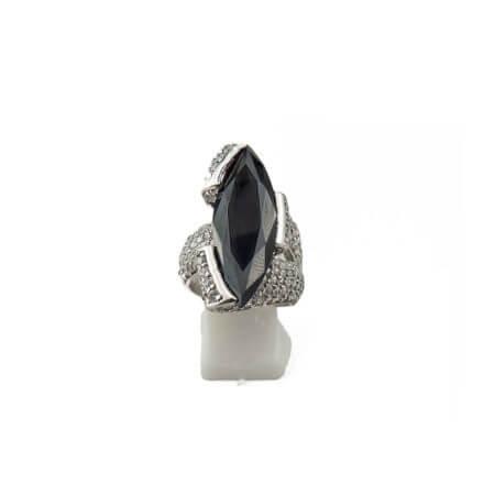 Ασημένιο Δαχτυλίδι με Μαύρη Πέτρα Ζιργκόν Λευκές Πέτρες Ασήμι 925 Γυναικείο
