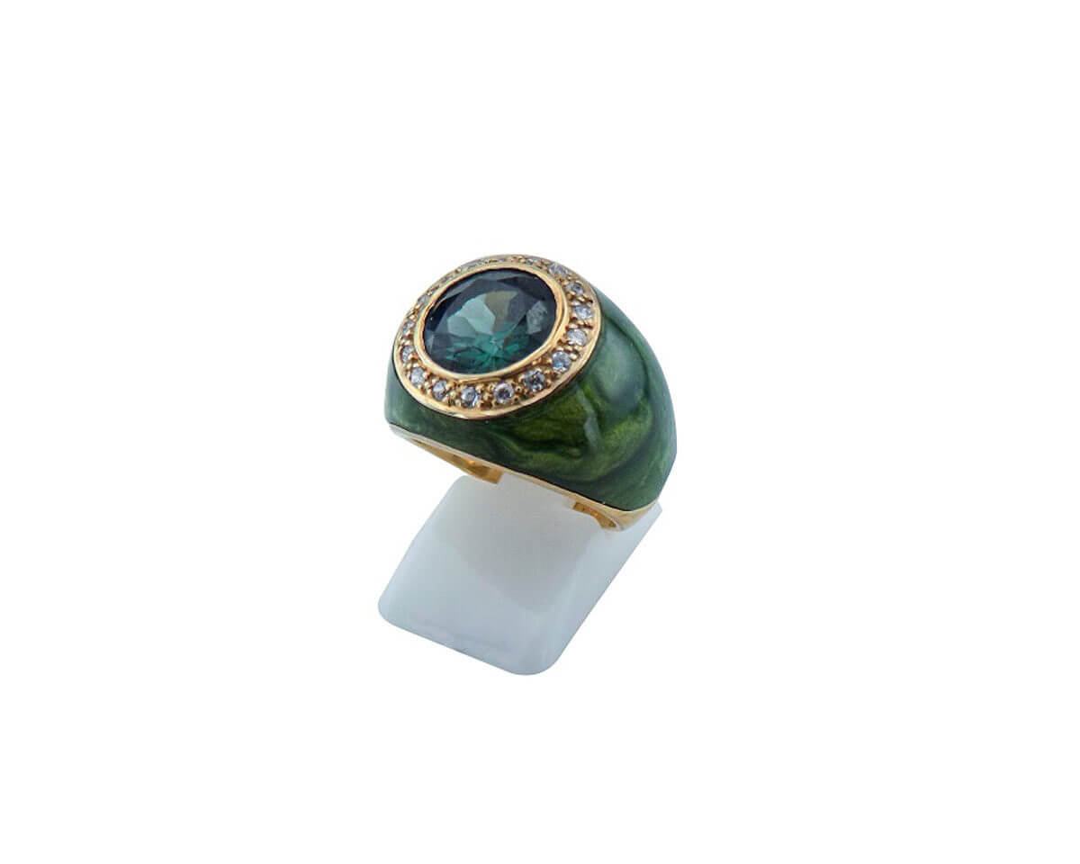 Ασημένιο Δαχτυλίδι Πράσινη Καμπουσόν Πέτρα Ζιργκόν Επιχρυσομένο Ασήμι Γυναικείο 925