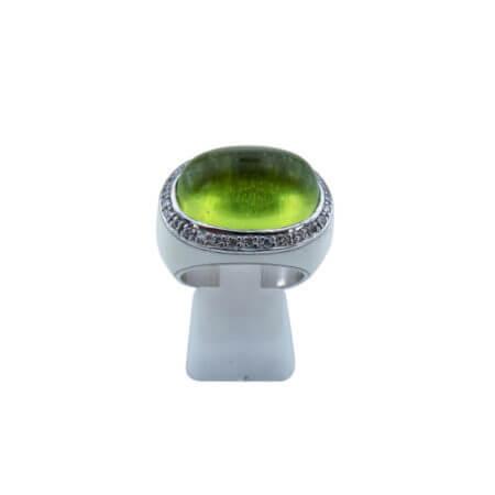 Δαχτυλίδι με Πράσινη Πέτρα Γυναικείο Καμπουσόν Ασημένιο 925 Λευκές Πέτρες Ζιργκόν