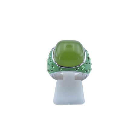 Ασημένιο Δαχτυλίδι 925 Γυναικείο Πράσινη Πέτρα Καμπουσόν Πέτρες Ζιργκόν Ασημί