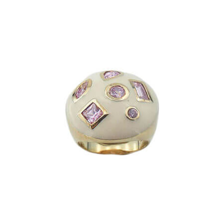 Επίχρυσο Δαχτυλίδι με Αμέθυστο Σμάλτο Πέτρες Γυναικείο Ασήμι 925