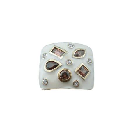 Επίχρυσο Δαχτυλίδι με Ζιργκόν Σμάλτο Καφέ Πέτρες Λευκές Γυναικείο Ασημένιο 925