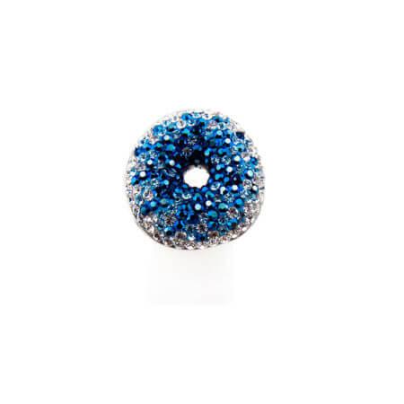 Δαχτυλίδι Ασήμι 925 Doughnut Μπλε Ζιργκόν Πέτρες Ασημένιο Γυναικείο