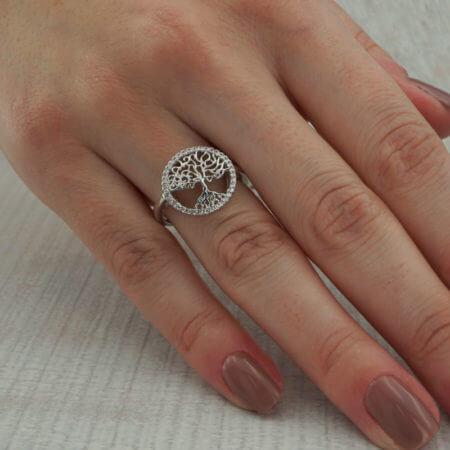 Ασημένιο Δαχτυλίδι 925 Δένδρο Ζωής Γυναικείο Ασημί