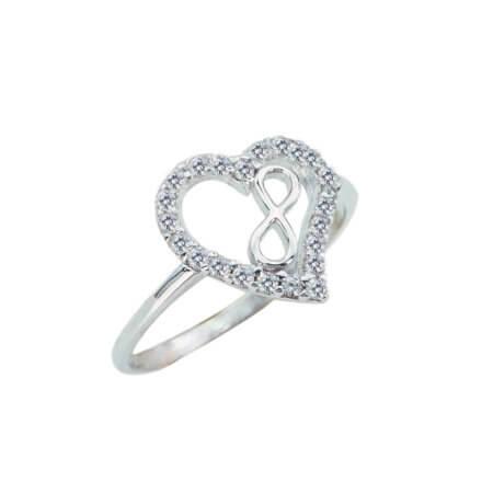 Ασημένιο Δαχτυλίδι 925 Καρδιά Άπειρο Ζιργκόν Ασημί Γυναικείο