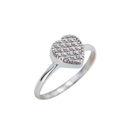 Γυναικείο Δαχτυλίδι Ασημένιο 925 Καρδιά Ζιργκόν Λευκές Πέτρες Ασημί