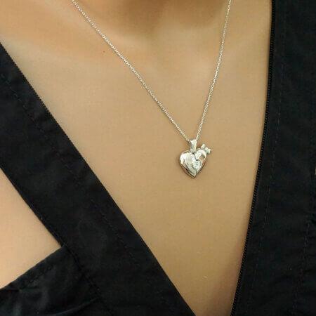 Κολιέ Καρδιά που Ανοίγει Ασημένιο 925 Γυναικείο Λαιμού Ζιργκόν Αλυσίδα
