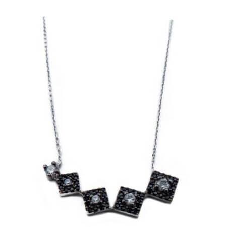 Ασημένιο 925 Μενταγιόν με Πέτρες Μαύρες Ζιργκόν Γυναικείο Αλυσίδα Λαιμού