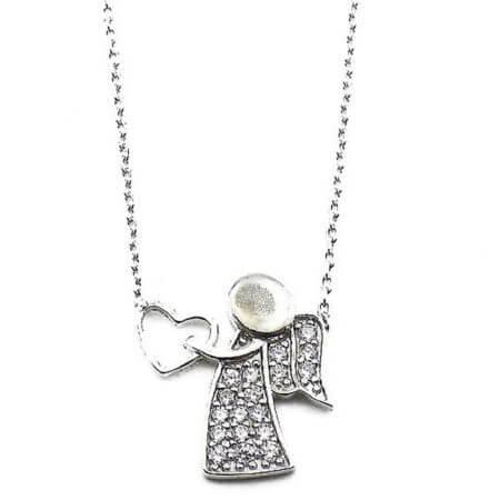 Ασημένιο Γυναικείο Μενταγιόν 925 Λαιμού Άγγελος Καρδιά Ζιργκόν Πέτρες Ασημί Αλυσίδα