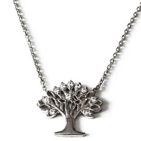 Μενταγιόν Δέντρο της Ζωής Ζιργκόν Πέτρες Αλυσίδα Λαιμού Ασημένιο Γυναικείο 925