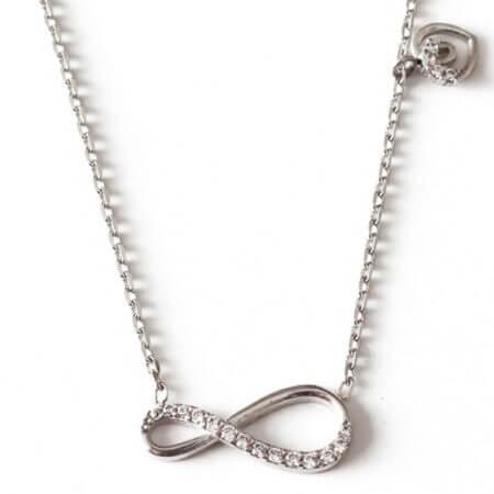 Ασημένιο Γυναικείο Μενταγιόν 925 Λαιμού Καρδιά Άπειρο Ζιργκόν Πέτρες Ασημί Αλυσίδα