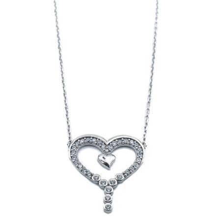 Ασημένιο Γυναικείο Μενταγιόν 925 Λαιμού Καρδιά Ζιργκόν Πέτρες Ασημί Αλυσίδα