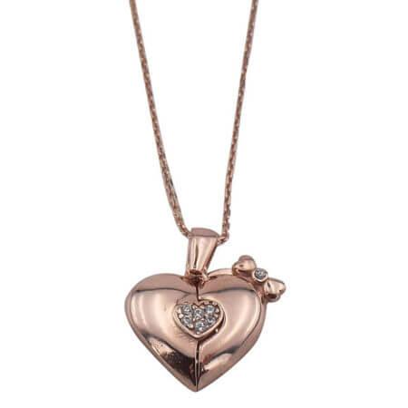 Ασημένιο Γυναικείο Μενταγιόν 925 Λαιμού Καρδιά Ζιργκόν Πέτρες Ροζ Χρυσό Αλυσίδα
