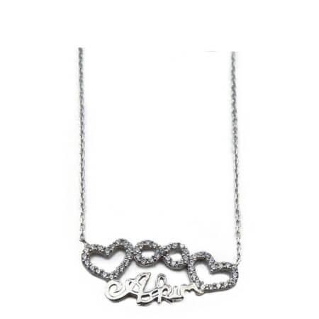 Ασημένιο Γυναικείο Μενταγιόν 925 Λαιμού Καρδιές Άπειρο Ζιργκόν Πέτρες Ασημί Αλυσίδα