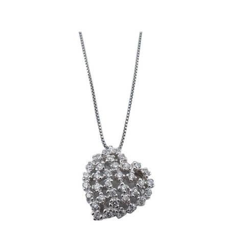 Ασημένιο Γυναικείο Μενταγιόν 925 Λαιμού Καρδιές Ζιργκόν Πέτρες Ασημί Αλυσίδα