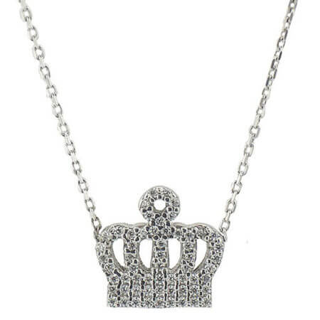 Ασημένιο Γυναικείο Μενταγιόν Κορώνα 925 Ζιργκόν Πέτρες Ασήμι Αλυσίδα Λαιμοὐ