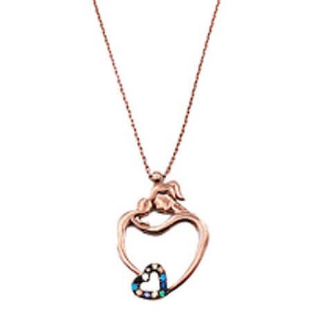 Ασημένιο Γυναικείο Μενταγιόν 925 Λαιμού Μαμά Παιδί Καρδιά Ζιργκόν Πέτρες Ροζ Χρυσό Αλυσίδα