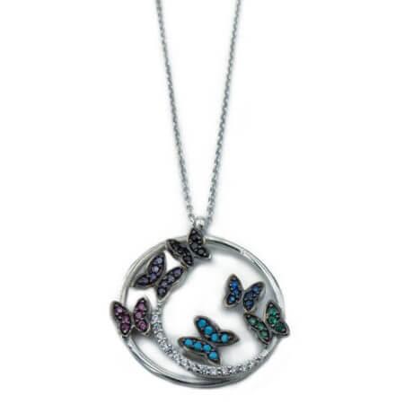 Ασημένιο Γυναικείο 925 Κολιέ με Πεταλούδες Ζιργκόν Πέτρες Αλυσίδα Λαιμού