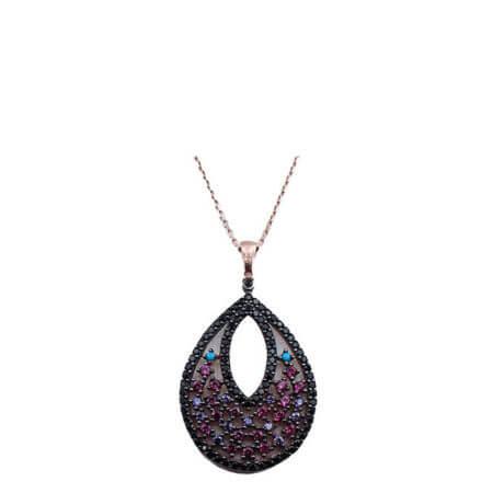 Ασημένιο Γυναικείο Μενταγιόν 925 Λαιμού Ζιργκόν Πέτρες Ροζ Χρυσό Αλυσίδα