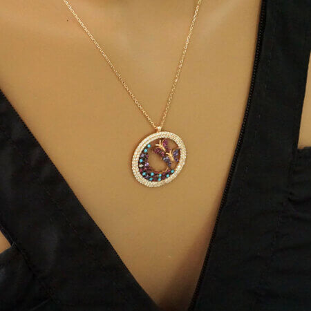 Ασημένιο Γυναικείο Μενταγιόν με Πεταλούδες Πέτρες Ζιργκόν Ροζ Επίχρυσο Αλυσίδα