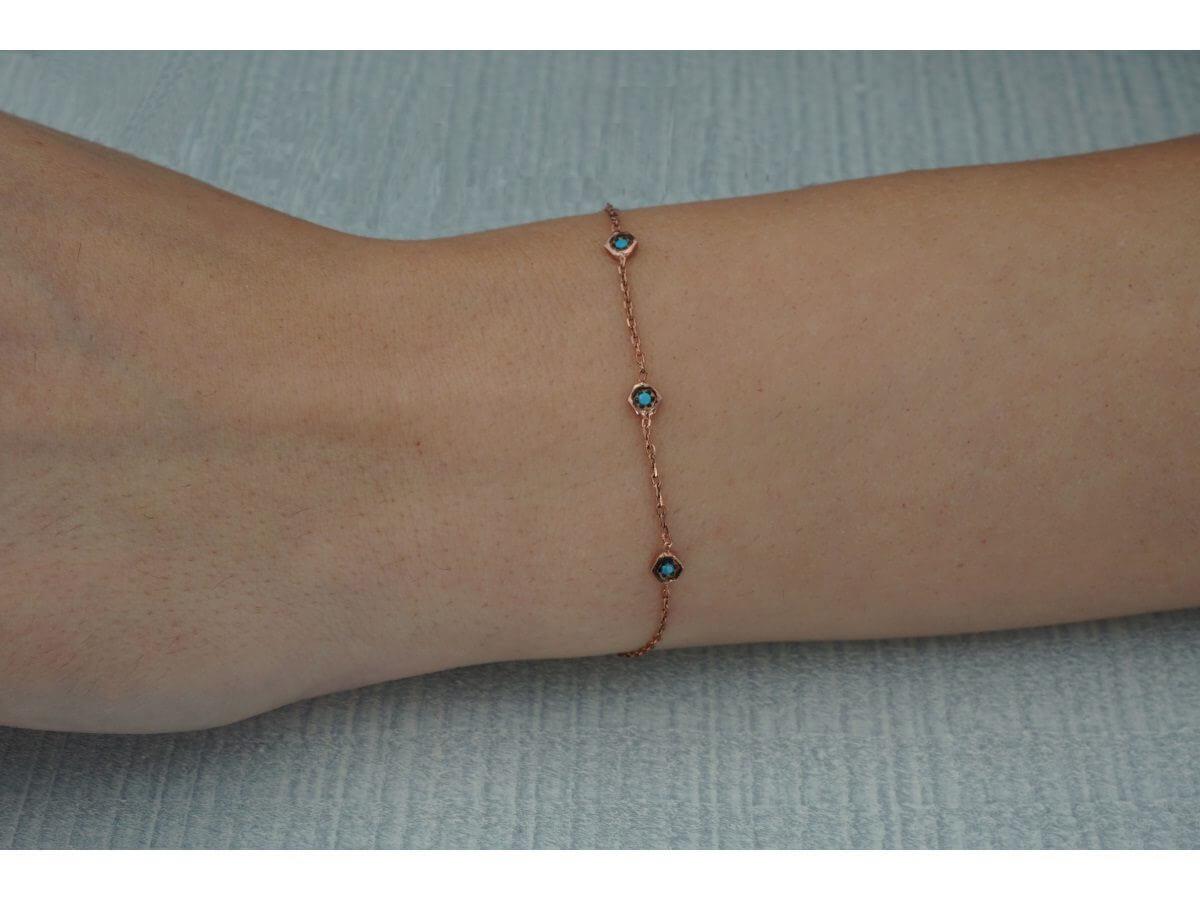 Ασημένιο Γυναικείο Βραχιόλι Χεριού Αλυσίδα Πέτρες Ροζ Χρυσό Τυρκουάζ