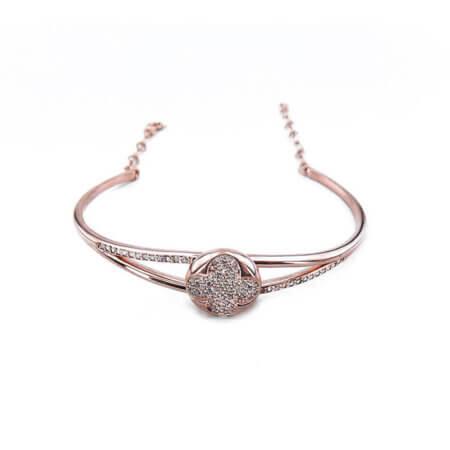 Ροζ Επίχρυσο Ασημένιο Γυναικείο 925 Βραχιόλι με Ζιργκόν Πέτρες